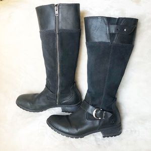 TIMBERLAND KNEE LENGTH BLACK LEATHER SUEDE BOOTS